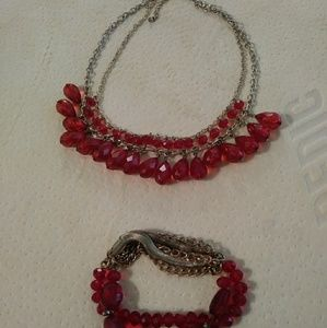 Beautiful Red stone necklace and bracelet set